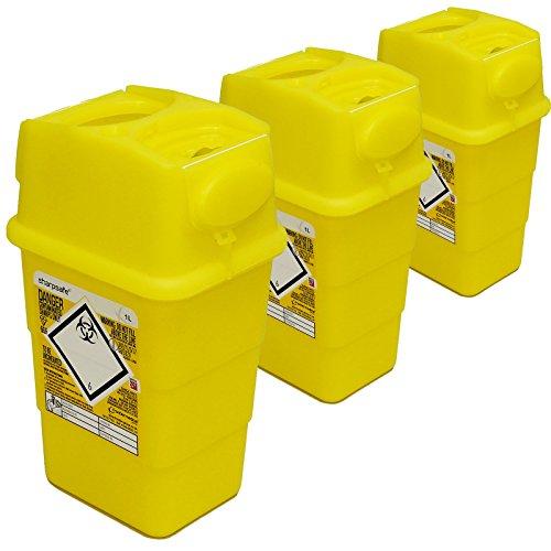 Qualicare seguro para objetos punzantes aguja jeringa insulina eliminación cirugía papelera caja–1l, 3paquetes de 20unidades,