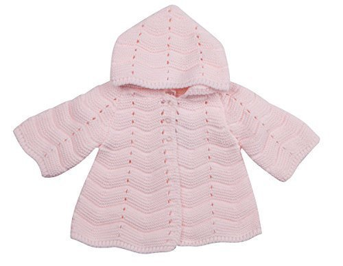 Babytown Baby Girls Hooded Chunky Crochet Knitted Cardigan Jumper (0-3 MONTHS, PINK 16C536)
