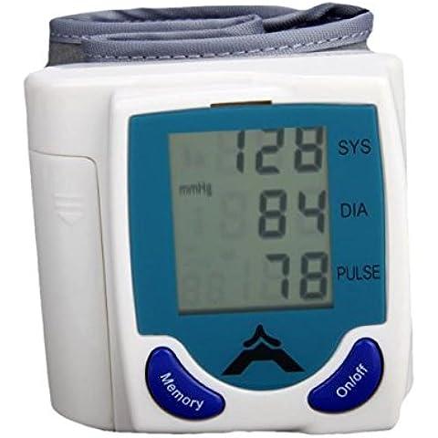 Lychee LCD digital de muñeca monitor de presión arterial latido del corazón del medidor de memoria