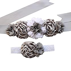 Baby Shower Ribbon Sash Wedding Dress Belt Maternity Pregnancy Ribbon Floral Belt