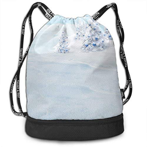 Rucksäcke,Sporttaschen,Turnbeutel,Daypacks, Knapsack Fashion Waterproof Bike Travel Backpack for Women Men Drawstring Beam Bags for Girls Boys Houses in The Snow Print Pack -