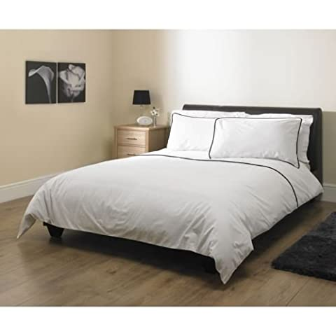 3 PIECE 200TC 100% EGYPTIAN COTTON DUVET BEDDING BED SET WITH DUVET COVER + PILLOWCASES 200 THREAD COUNT WHITE/BLACK PIPING