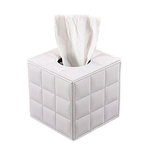 JUNGEN Kosmetiktücherbox Quadratisch PU Leder Tissue Box Cover in Würfelform (Weiß)