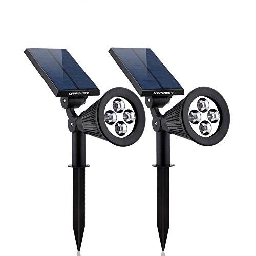 Asvert LED Gartenleuchten solar 2 Stück (8led, 2 Modi), Einstellbar Solarleuchten Solarlampen Wasserdicht Beleuchtung für Garten / Outdoor Landscape Solar Spotlight, Auto ein/aus (Weiß) (Landschaft Beleuchtung Im Boden)