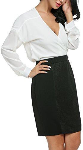 Damen Chiffon zweiteiliger Karriereanzug tiefer V-Ausschnitt Langärmeliger Oberteil und knielanges Kleid mit elastischer Taile Bleistift Design und rückseitigenreißverschluss - 3