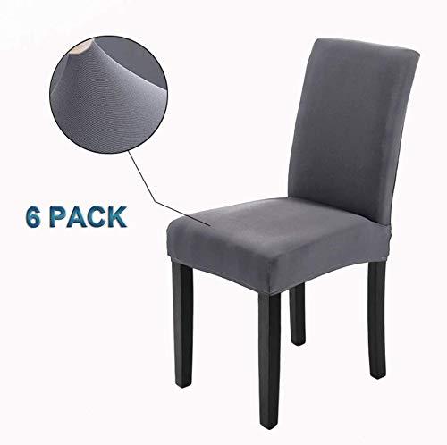 Veakii r coprisedie con schienale 6 pezzi, coprisedia per sala da pranzo mobili da cerimonia nuziale moderni, hotel, ristorante decor (grigio, 6 pezzi)