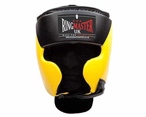Ringmaster UK Casco Protector Para Boxeo Piel Sintética, color negro y amarillo, hombre mujer, negro y amarillo