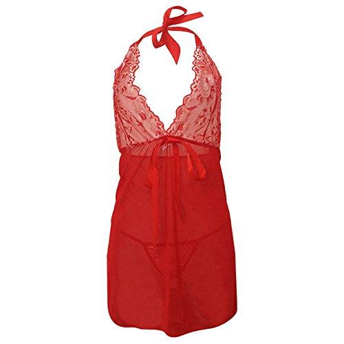 Yvelands Damen Nachtwäsche+G-StringDessous Bodysuit Floral Nachtwäsche Lace Wire Unterwäsche Nachthemd Nachtwäsche