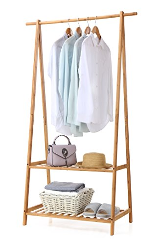 finnhomy Bambus Kleidung Rack tragbar Extra Groß Garment Rack 2-tire Aufbewahrungsbox Einlegeböden für Diele und Schlafzimmer (Kleidung Racks)