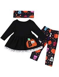 Preisvergleich für Riou Bekleidungssets Kinder Langarm Halloween Kostüm Top Set Baby Kleidung Set 3 Stücke Kleinkind Baby Mädchen...