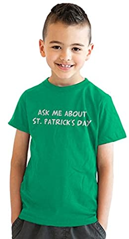 Crazy Dog TShirts - Youth Ask Me About St Patricks Day Smiling Leprechaun Flip Up T shirt (Green) XL -