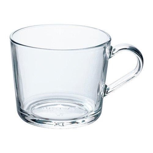 IKEA 365+ Set Kaffeetasse / Teebecher MIT Korkuntersetzer - spülmaschinenfest - Kaffeebecher aus Pozellan oder Teetasse aus Glas - versch. Größen (transparent - Glas, 240 ml)