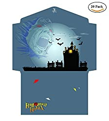BeeChamp Halloween Party Invitation Open End Envelopes & Cards - 20 Envelopes w/ 30 Cards (haunted castle)