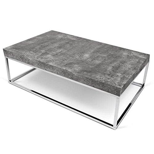 MDS Petra, Table d'appoint ou Table Basse : Le béton et l'acier, sans Le béton - Designer : INÊS MARTINHO - 120 x 75 x 35 cm - Aspect béton Mat, Lisse au Toucher, piétement chromé
