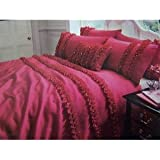 Pleated Pattern Premium Embroidered Lille Quilt/Duvet Cover Bedding Set (Super King Bed) (Fuchsia)