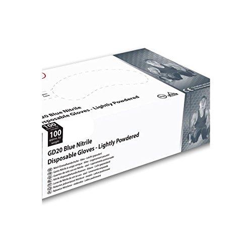 Guanti usa e getta Shield in in nitrile blu, confezione da 100, leggermente impolverati, Gd20