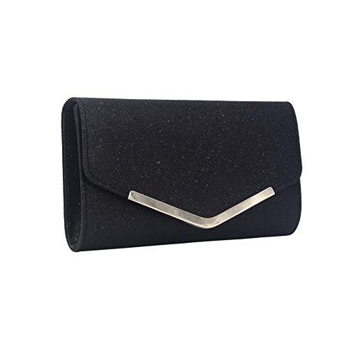 KUDICO Damen Clutch Abendtasche Umschlag Umhängetasche Handtasche mit Abnehmbarer Kette Tasche für Hochzeit Freizeit Party(Schwarz 1, one Size)