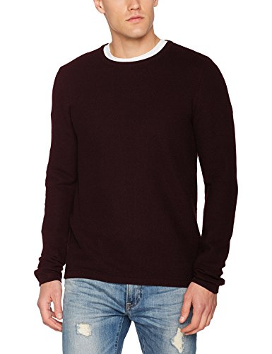 TOM TAILOR Herren Sweatshirt Basic Crew Neck Sweater Rot (Deep Burgundy Red 4257)