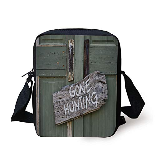 unting Written on Wooden Board Old Worn Out Cottage Door Seasonal Hobby Decorative,Multicolor Print Kids Crossbody Messenger Bag Purse ()