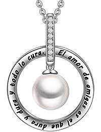 f70295d783a3 LOVORDS Collar Mujer Grabado Plata de Ley 925 Colgante Círculo Perla  Cultivada Blanca de Agua Dulce Regalo Abuela.