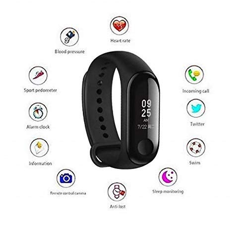 Shaarq M3 Intelligence Bluetooth Smart Watch/Smart Bracelet/Health Band/Activity Tracker/Bracelet/Fitness Band/M3 Band/with Heart Rate Sensor Compatible for All Androids and iOS...