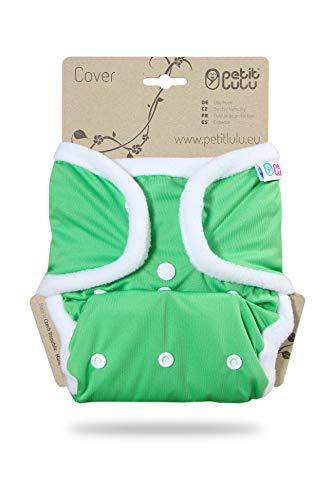 Petit Lulu Größe 2 PUL Überhose (4-15 kg) | Druckknöpfe | One Size Windelüberhose | Baby Regenbogen Windelhose | Waschbar & Wasserdicht | Stoffwindeln | Hergestellt in EU (Grün)
