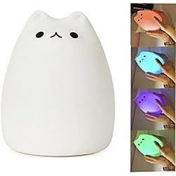 ATD® Colorful Animale del silicone USB Ricaricabile Desk Lamp, Popolarità gatto bianco Camera LED a risparmio energetico di induzione della luce di notte