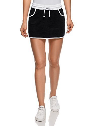 oodji Ultra Damen Jersey-Tennisrock, Schwarz, DE 40 / EU 42 / L (Saum-jeans-mini-rock)