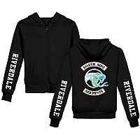 AMON LL Unisex Riverdale Southside Serpientes Sudaderas, otoño Invierno Informal de impresión suéter con Cierre de Cremallera, con Capucha Moda,Negro,130cm