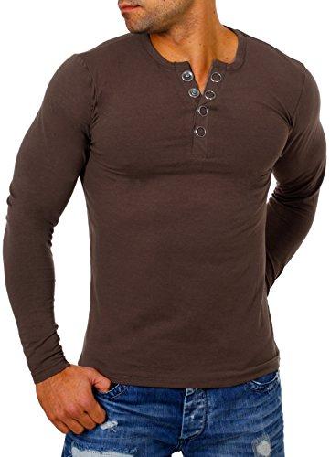 Young & Rich Herren Longsleeve Langarm T-Shirt Knopfleiste mit Extra Großen Metall Knöpfen Slimfit Big Buttons 2872, Grösse:M;Farbe:Braun