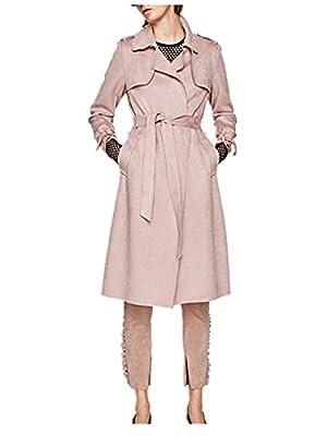 Monissy Womens Suede Long Sleeve Outwear Lapel Long Trench Coat Casual Tie Duster Cardigan Jacket