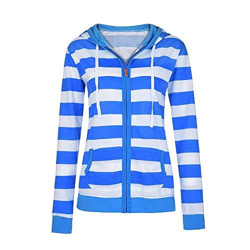 Damen Hoodie Stylischer Herbst Winter Gestreift Jacke Kapuzenpullover Schwangeren Female Zipped Jacket Langarmshirt Sweatshirt Strickjacke Locker Mode Pulli Pullovervon (Color : Blau, Size : M)