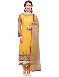 Kanchnar Georgette Yellow Semi Stitched Zari and Stone Embroidery Cut Work Dress Material