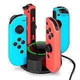 Molyhood Chargeur pour Nintendo Switch Manettes Joy-Con, Support de Chargeur 4 en 1 pour Switch Joy-Con avec Indication LED