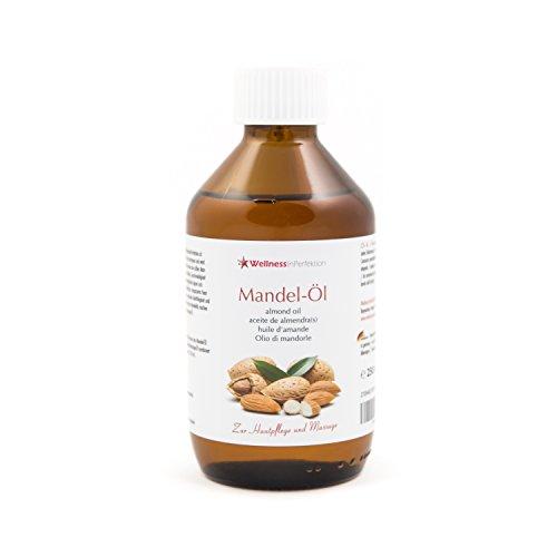 WellnessInPerfektion reines Bio Mandelöl (250ml) Massageöl Naturkosmetik Öl für Haut und Haar Mandel Körperöl Wellness Kosmetik für Massage I Basisöl vegan und ohne Konservierungsmittel