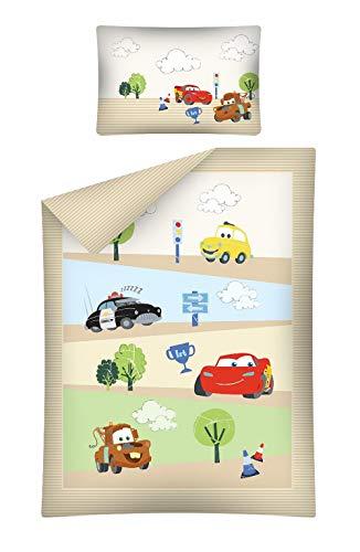 Kinderbettwäsche Disney III 2-teilig 100% Baumwolle 40x60 + 100x135 cm mit Reißverschluss (Cars beige)