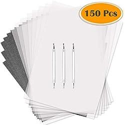 Selizo Lot de 150papier calque et papier carbone noir Graphite papier transfert calque avec stylet pour le transfert de gravure sur bois, Sculpture sur bois et traçage