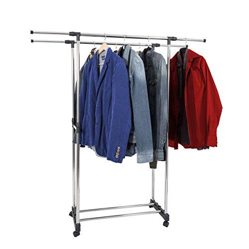 Mari-Home-Adjustable-Double-Garment-Rack-Wardrobe-Metal-Display-Clothes-Clothing-Garment-Rail-with-Shoe-Shelf-and-Wheels