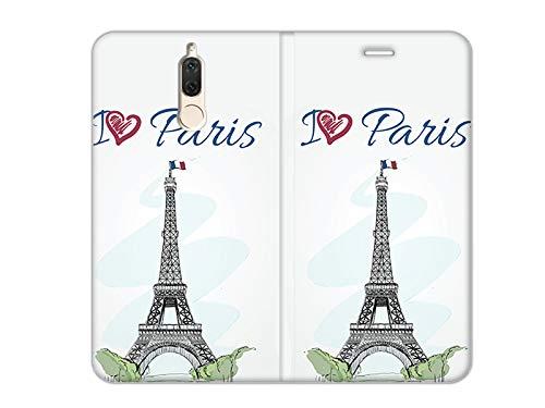 etuo Huawei Mate 10 Lite - Hülle, Handy Flip Case Flex Book Fantastic - Ich Liebe Paris