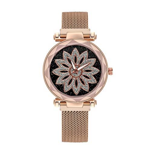 Caerling Damen Stilvoll Uhren Blumenmuster Ziffernblatt Moderne Damenuhr Elegante Quarz Uhr Mesh Ultradünne Uhrenband Armbanduhr Freizeit Armband