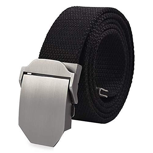 Wicemoon Cinturón Ancho de Lona Casual Aleación Exterior Hebilla Automática Cinturón Hombre Negro 130cm