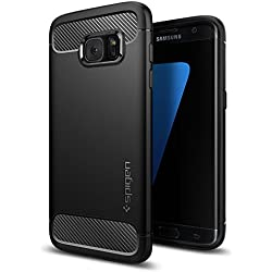 Spigen Coque Samsung S7 Edge [Rugged Armor] Design Automobile [Fibre de Carbone] US Military Grade/Spider Web/Air Cushion [Triple Protection] Compatible avec Samsung Galaxy S7 Edge - Noir