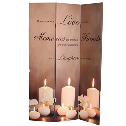 Mendler LED-Paravent Buddha, Trennwand Raumteiler, Timer netzbetrieben 180x120cm 9 LEDs