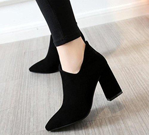 Frühling weibliche hochhackigen Stiefeln Stiefel dick mit einzelnen Schuhen zeigte Stiefel Gestrüpp Knöchel Black