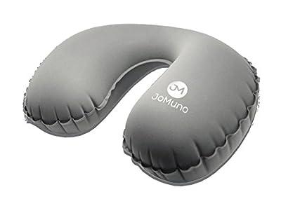 Nackenkissen | Reisekissen aufblasbar von JoMuno ultralight und kompakt passt es in jede Handtasche (grau)