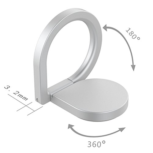 Kronya® | 360° drehbarer Smartphone Fingerhalter | Auto Case Finger Fitness Griff Halter Halterung Handy Hülle Ring Ringhalter Sport Ständer Tablet Apple iPhone iPad Samsung Galaxy 1 (Schwarz) - 8