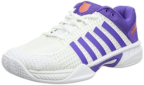 K-Swiss Performance Damen Express Light Tennisschuhe, Weiß (White/Purple/Orange), 39 EU (K-swiss Purple Schuhe)