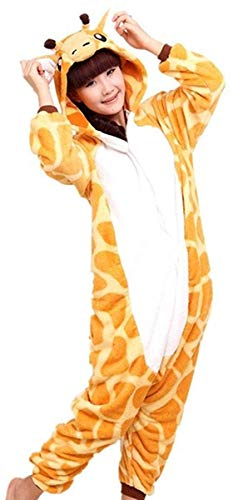 ABYED Jumpsuit Tier Karton Fasching Halloween Kostüm Sleepsuit Cosplay Fleece-Overall Pyjama Schlafanzug Erwachsene Unisex Lounge, Erwachsene Größe XL -for Höhe 175-181CM, Giraffe