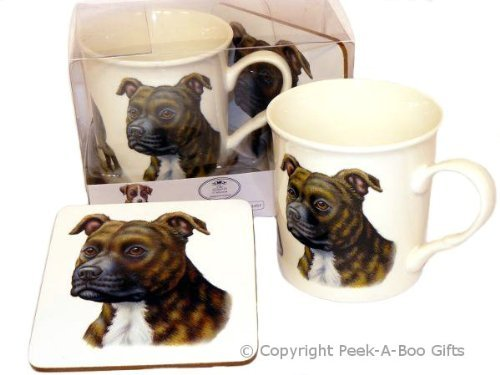 BRINDLE STAFFORDSHIRE BULL TERRIER FINE BONE CHINA MUG AND COASTER SET LP98347 by Leonardo