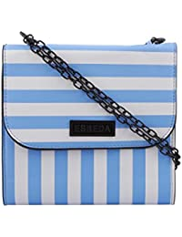 ESBEDA Light Blue & White Striped PU Synthetic Slingbag For Women